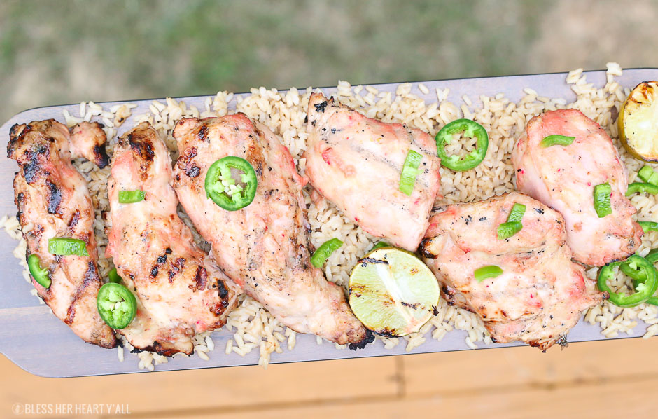 Grilled strawberry mango chicken with fresh jalapenos and grilled lime on a bed of fluffy brown rice! This healthy delicious meal puts a light tropical flavor in every bite! image 7