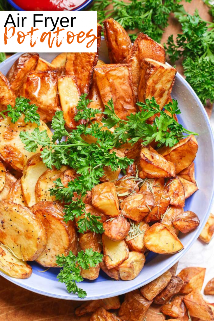 Air Fryer Potatoes are the best and easiest way to create crisp delicious potatoes in any shape you want them! These potatoes are gluten-free, paleo, and Whole30. They are much lower in fat and calories than breaded or fried potatoes even though you won't be able to tell any difference, and they still crisp to a golden perfection!