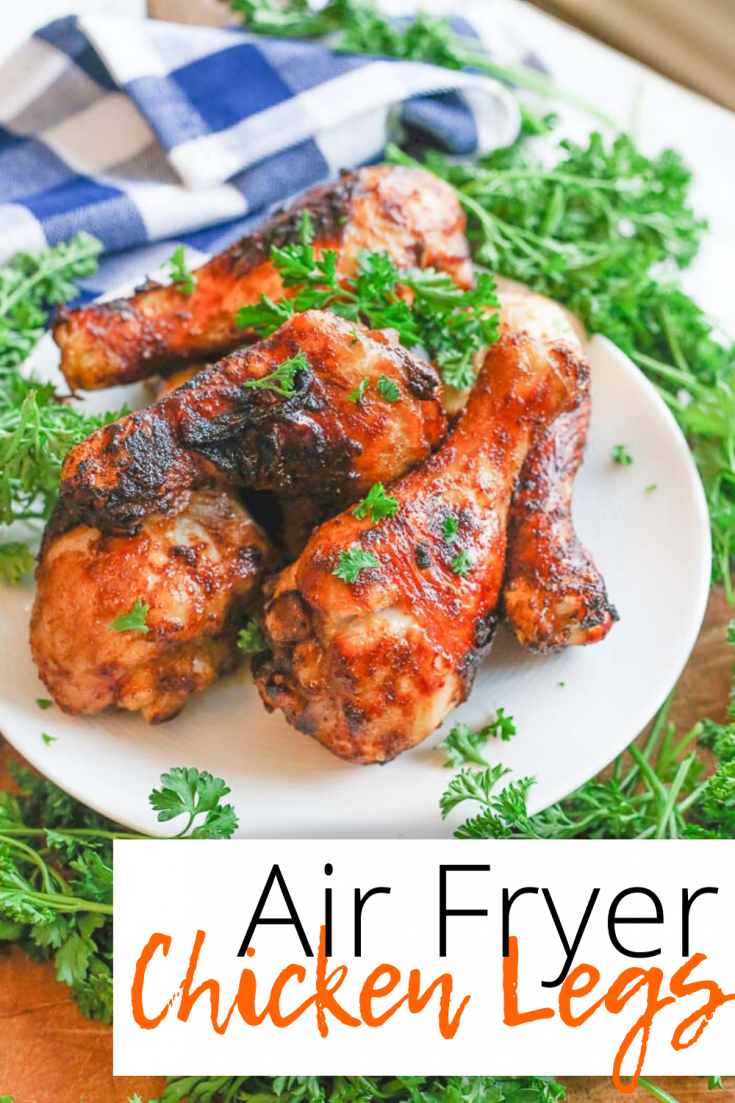 Air fryer chicken legs (AKA drumsticks) are quickly marinated in a homemade sauce and then easily added to the air fryer for a handful of minutes to create the juiciest centers and crispiest and tastiest outsides you've ever had in a chicken drumstick recipe!