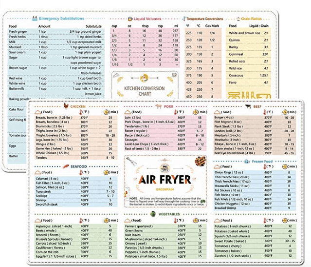 Air Fryer Magnetic Chart
