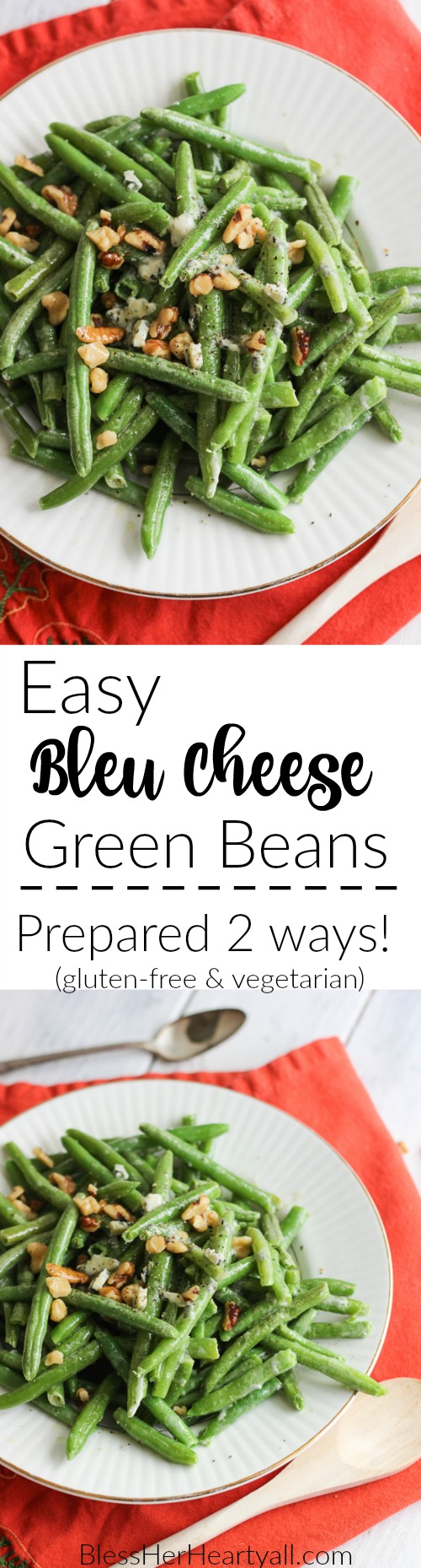 Easy Blue Cheese Green Beans bring together fresh green beans, prepared two different ways, with a decadent gluten-free blue cheese sauce drizzled and stirred over top for a warm, hearty, cheesy, creamy addition to your holiday table!