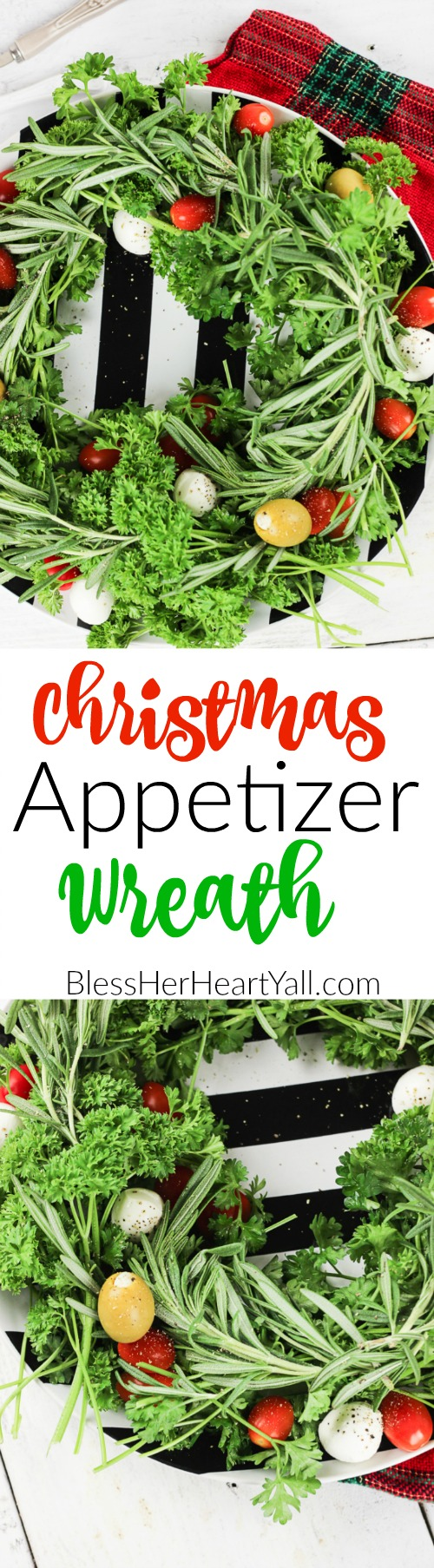 This holiday vegetable wreath is a festive holiday appetizer platter that plates your favorite herbs underneath tasty mozzarella cheese, sweet tomatoes, and your favorite olives. Sprinkle cracked pepper and a delicious balsamic reduction drizzle to finish!