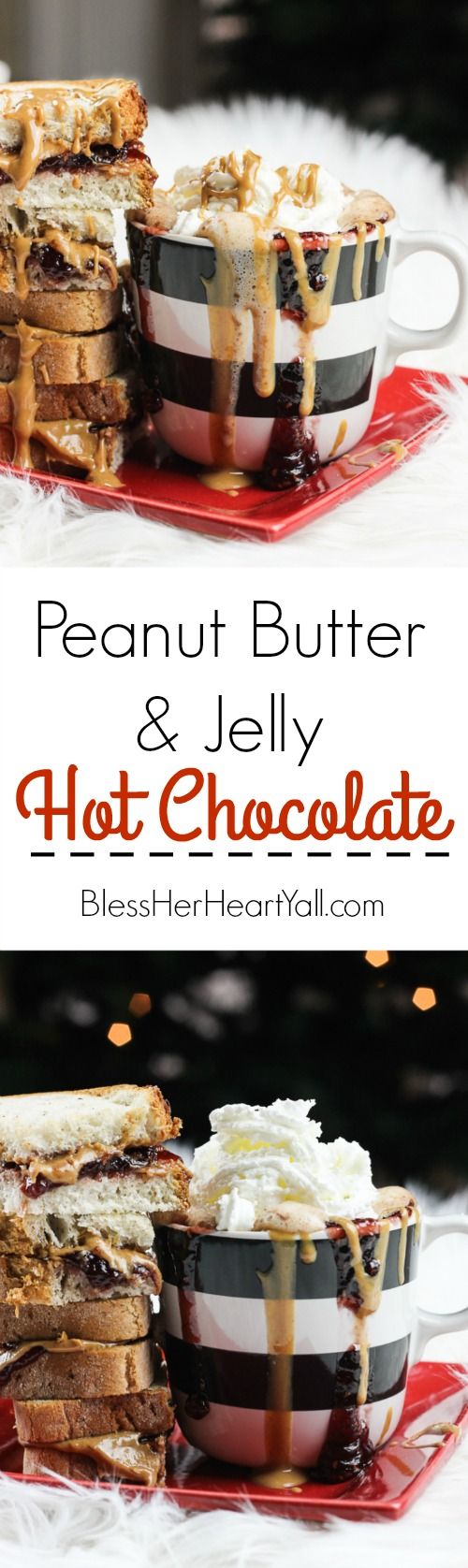 This peanut butter and jelly hot chocolate is a decadent and rich twist on the classic hot chocolate. Melting smooth chocolate with creamy peanut butter and sweetened with your favorite berry flavor, (and of course topped with whipped cream and other goodies!) make this an instant cold-weathered favorite.