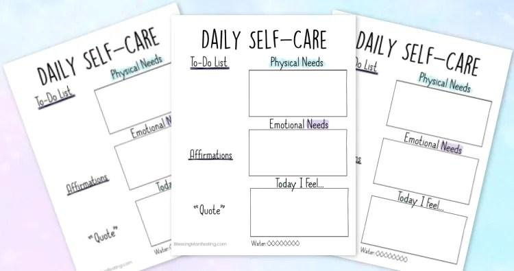 Printable: Daily Self-Care Worksheet