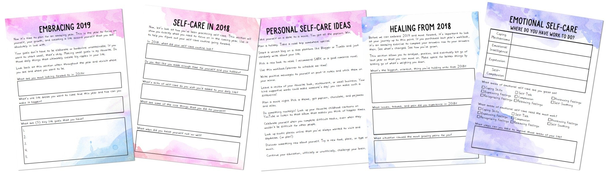 2019 Self-Love worksheets