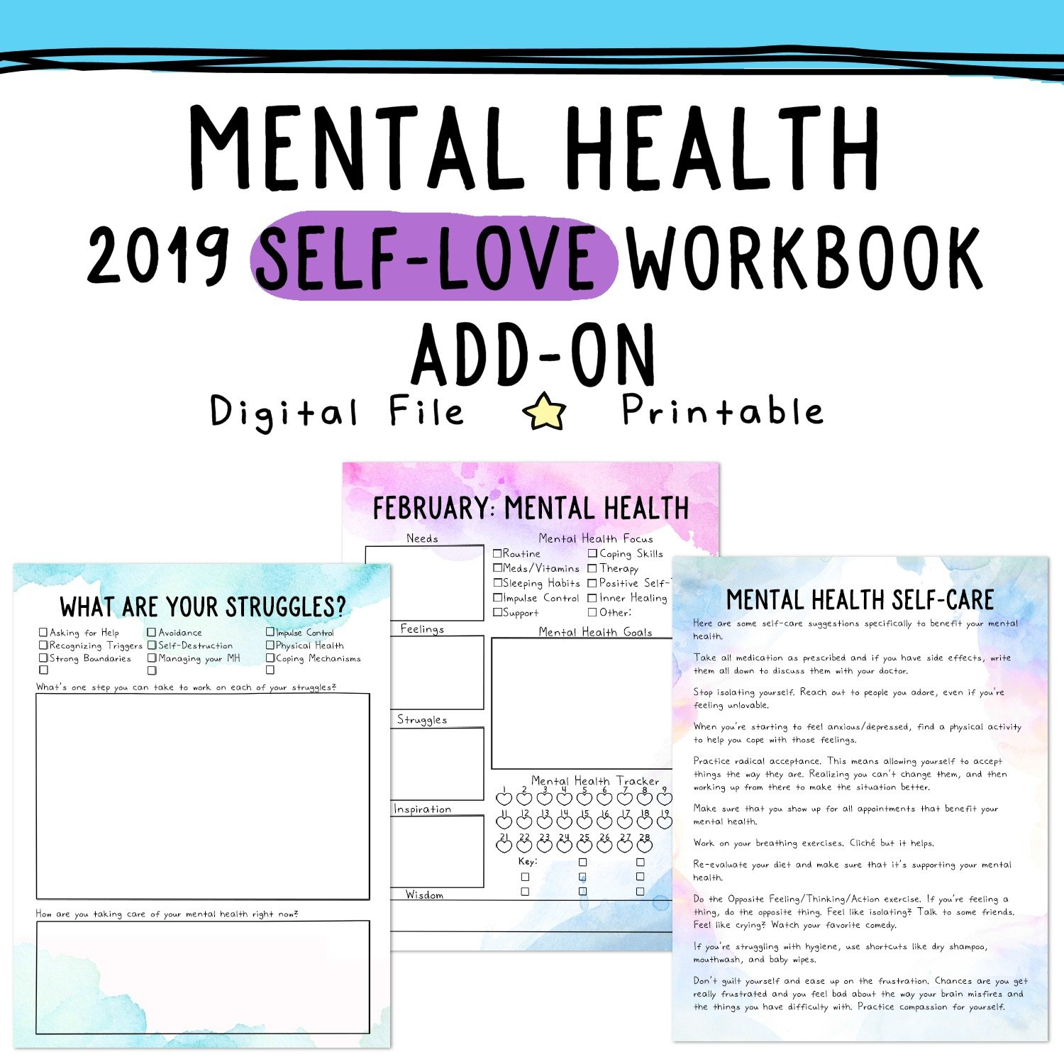 mental health worksheets
