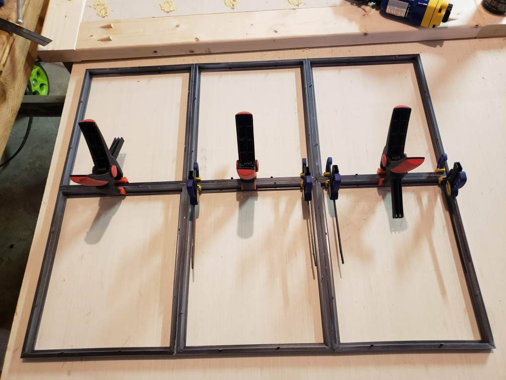 Glue and clamp the frames together to create the farmhouse window