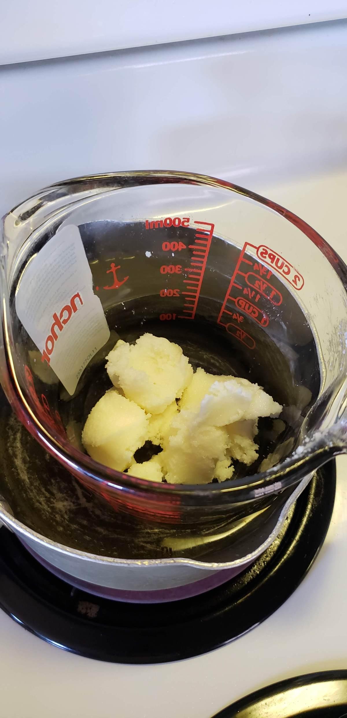 melt the shea butter and vitamin E oil