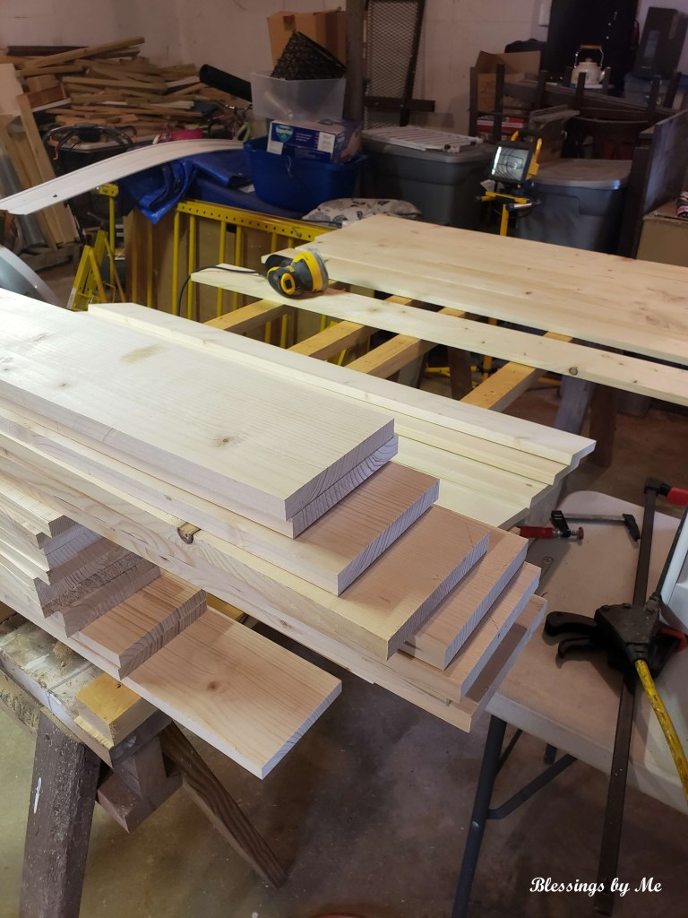 Cutting the boards for the shutters