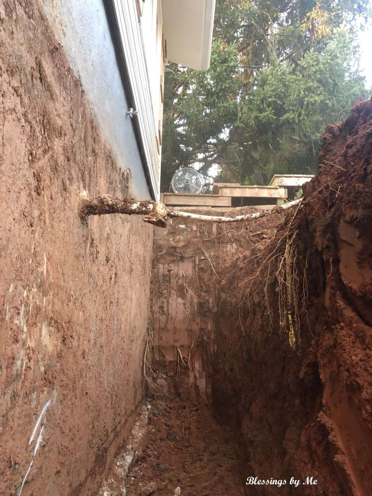Trench in front of the house