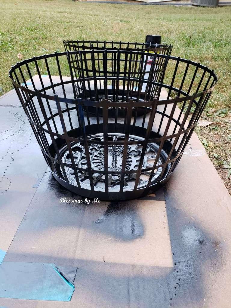 Paint both baskets black
