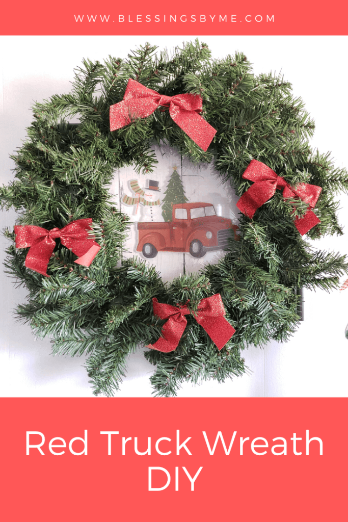 Quick and Easy Christmas DIY - red truck wreath