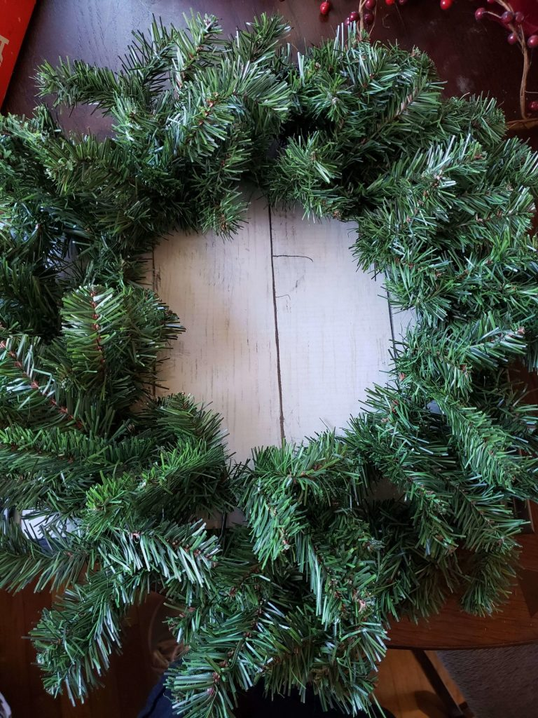 Step 1 - lay the wreath on the frame