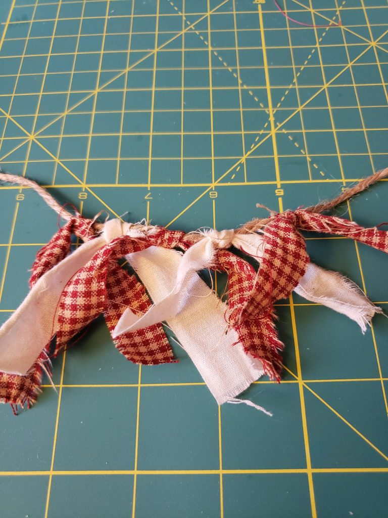 twine and fabric scraps