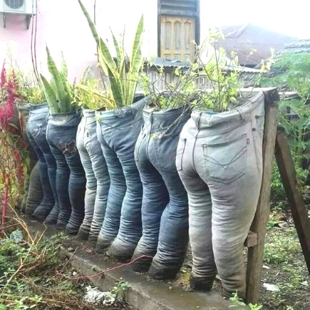 planter made from old jeans