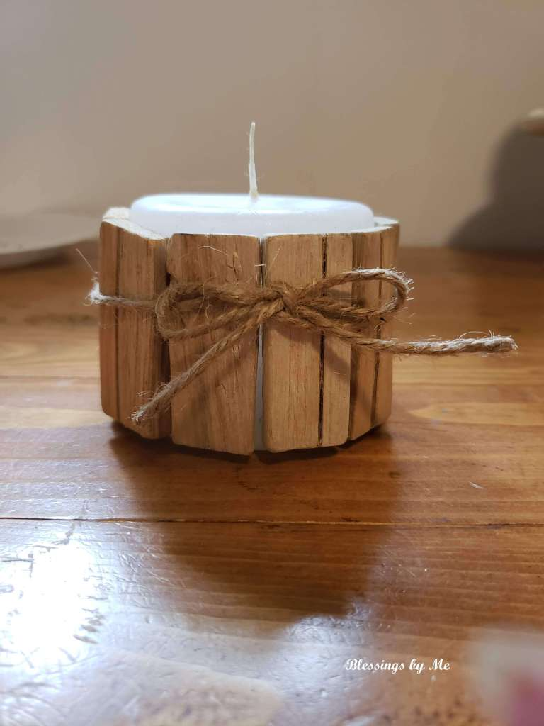 step 2 - tie jute twine around the candle