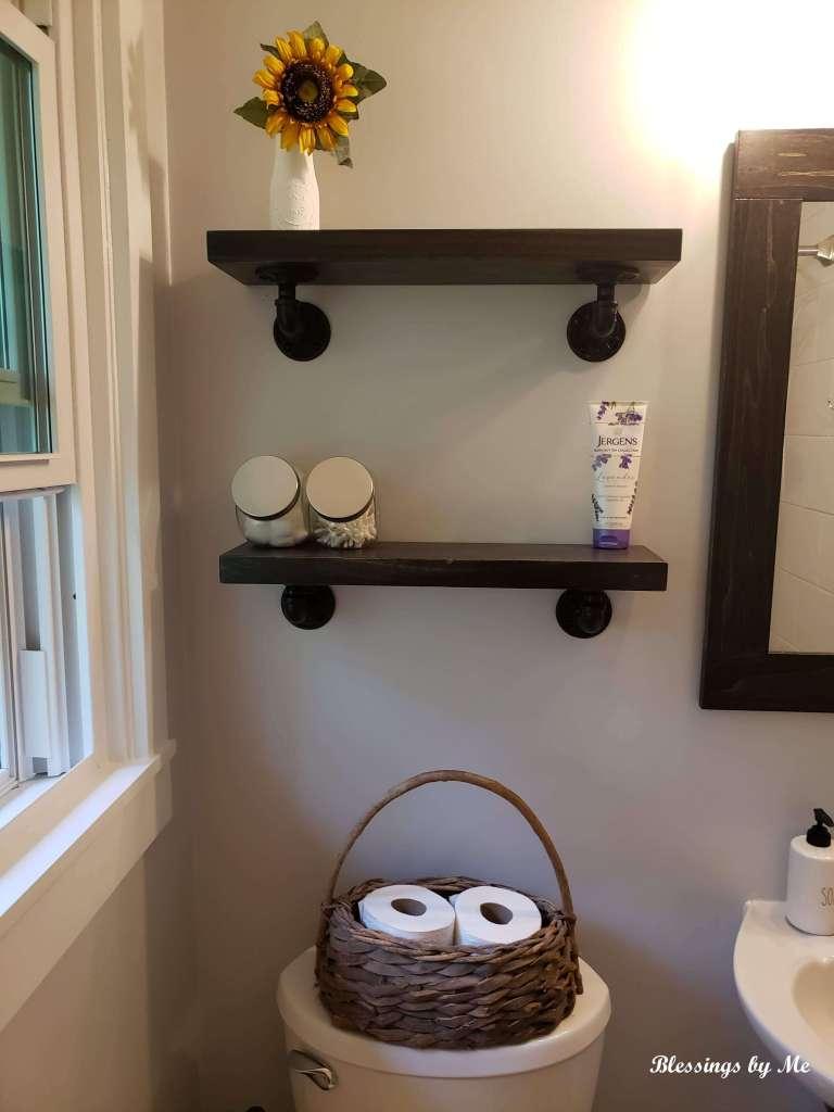 Shelves over the toilet