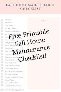 printable fall home maintenance checklist