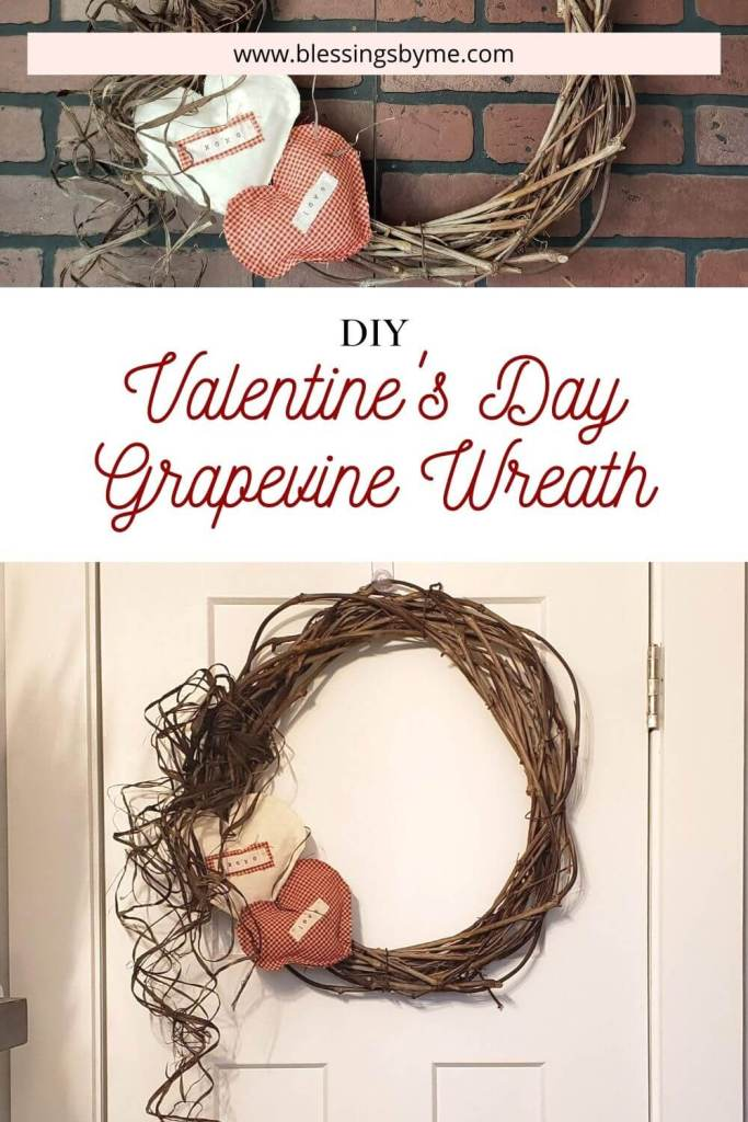 simple grapevine wreath for Valentine's Day