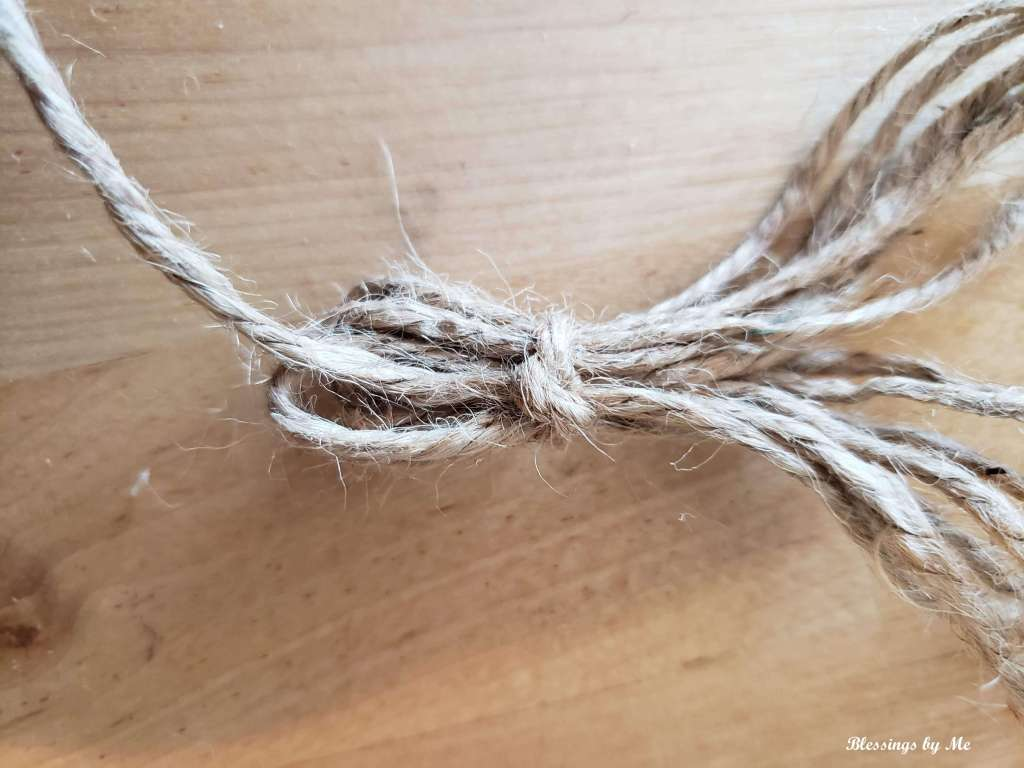 tie the twine strips together