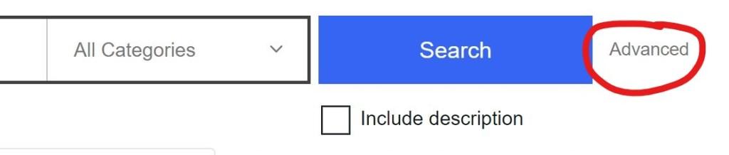 eBay advanced search tool