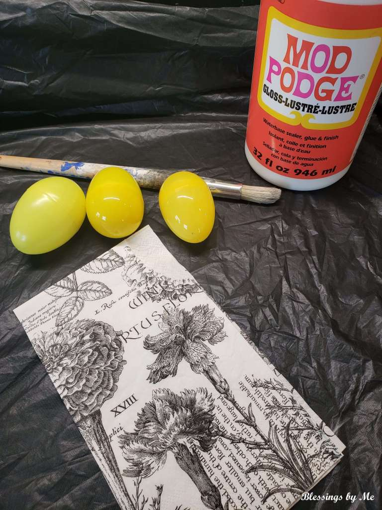 materials needed for decoupaged Easter eggs