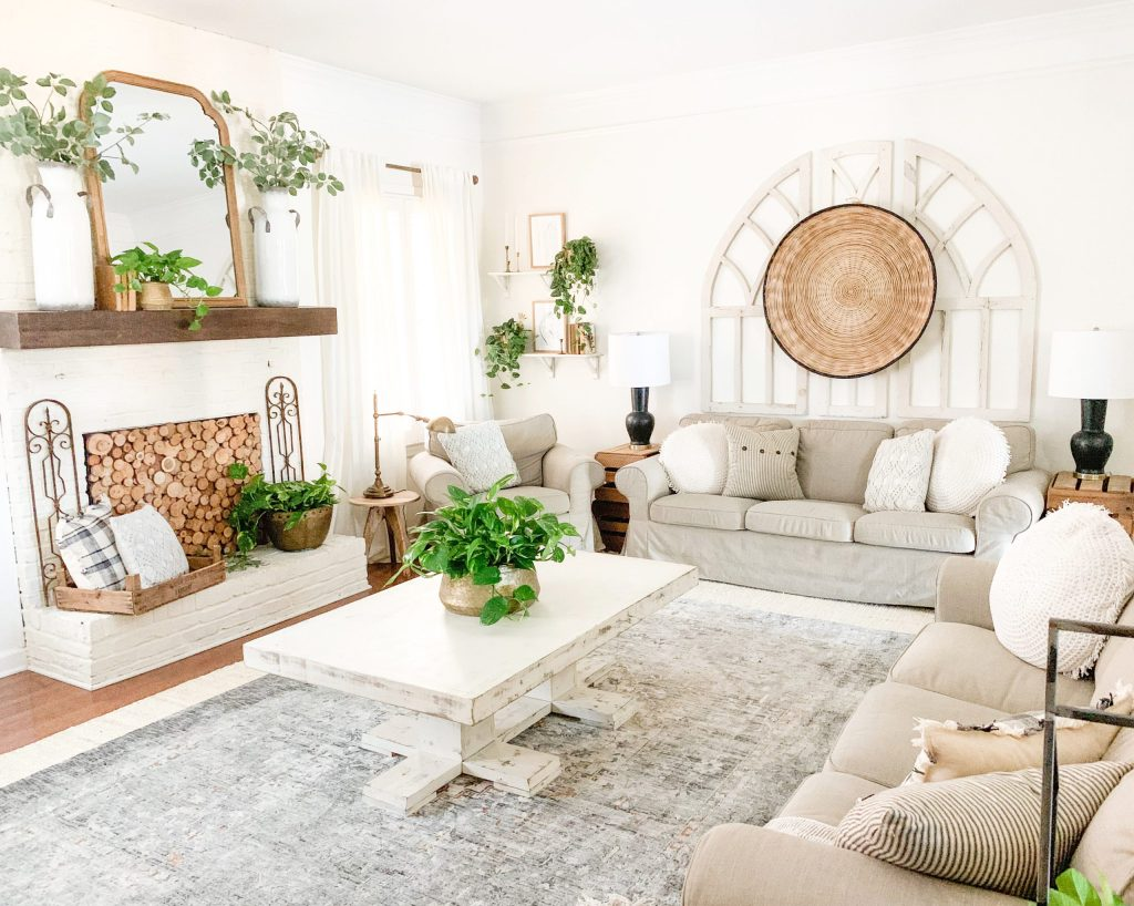 living room view of sofas and coffee table