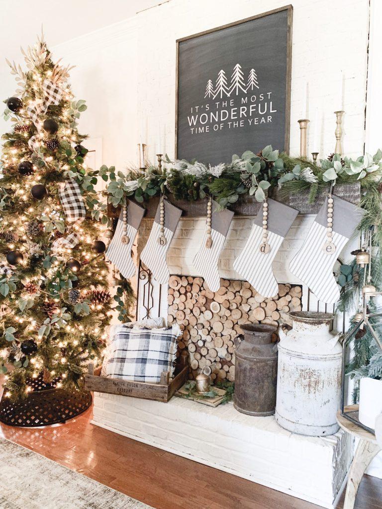 stockings hanging on mantel