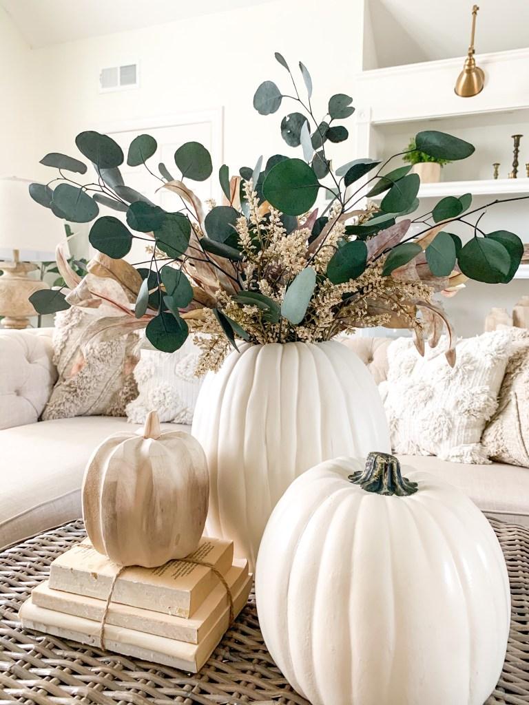 fall flower arrangement vignette