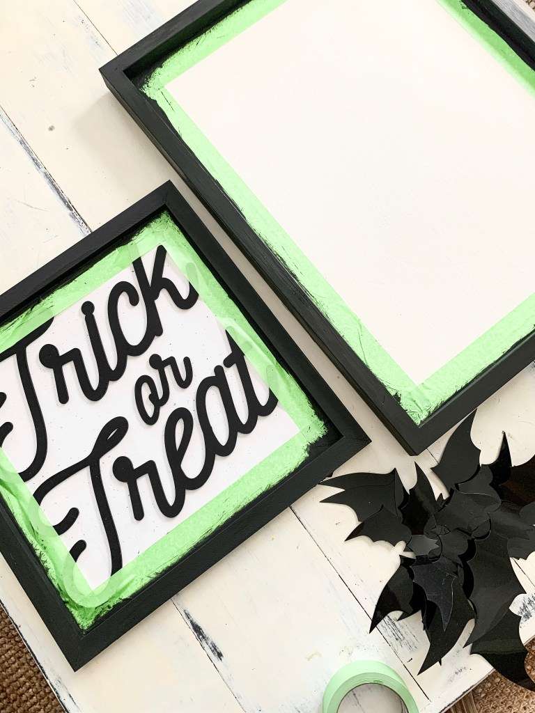 trick or treat sign with painter's tape