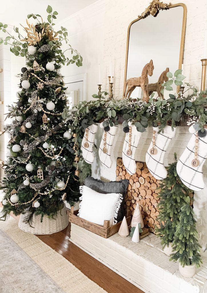 Christmas tree and mantel decor