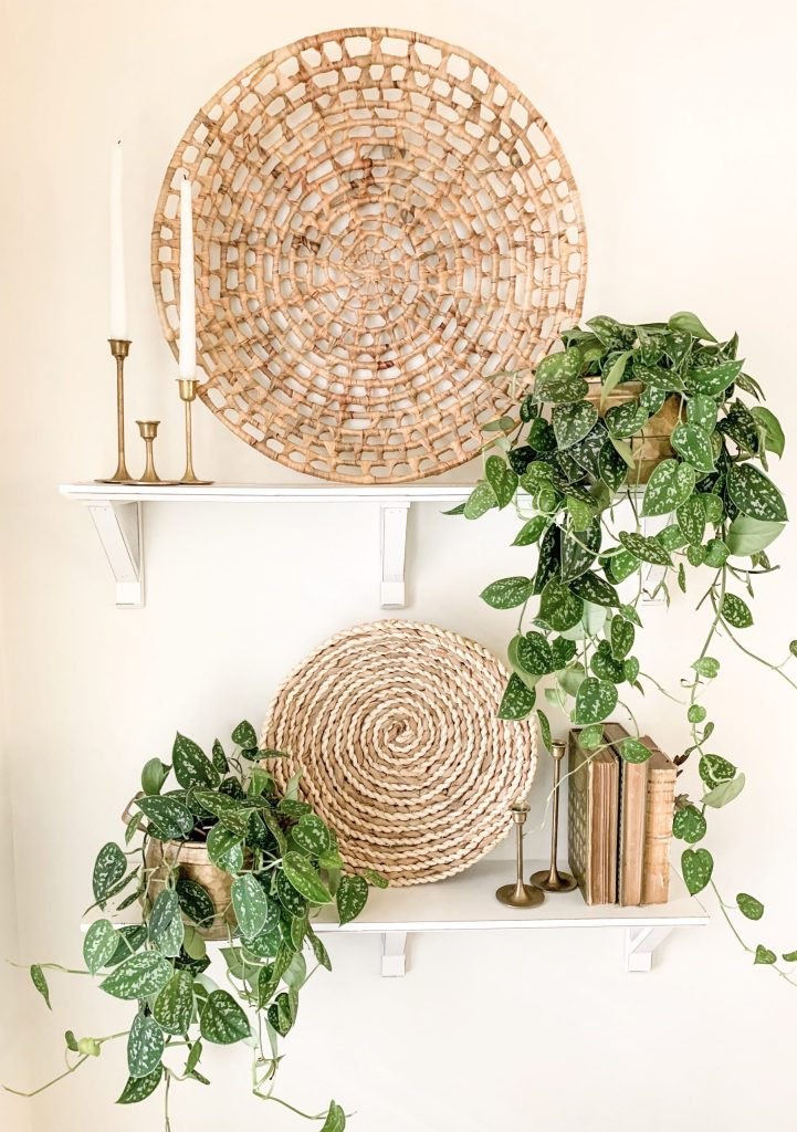 basket focal point and houseplants on two white shelves