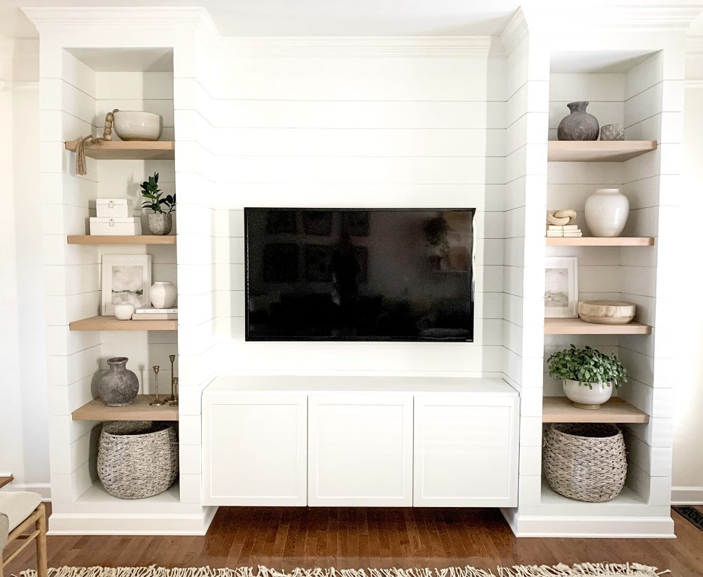 shiplapped media cabinet