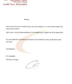lettre de remerciement pour la collaboration de l'expert sourcier Philippe Wojtowicz des Yvelines