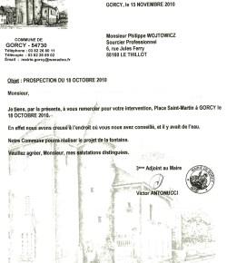 lettre de remerciement pour la collaboration de l'expert sourcier Philippe Wojtowicz en Lorraine