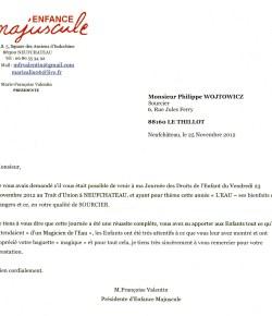 lettre de remerciement pour la collaboration de l'expert sourcier Philippe Wojtowicz du 88