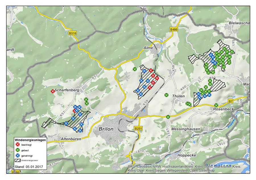 Kreis genehmigt 23 Windräder in der Stadt Brilon