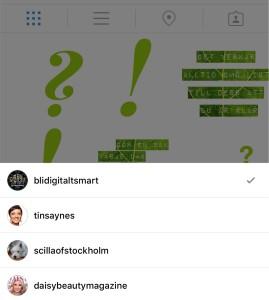 Växla konton på Instagram