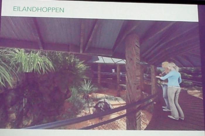Impressie binnenbocht verblijf reuzenschildpadden (vanaf ingang Natuurbehoudcentrum).