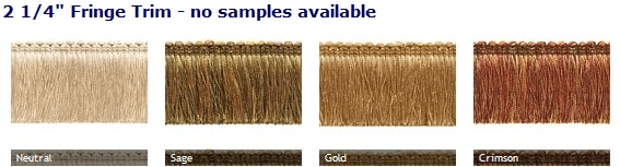 roman shades with decorative fringe trim