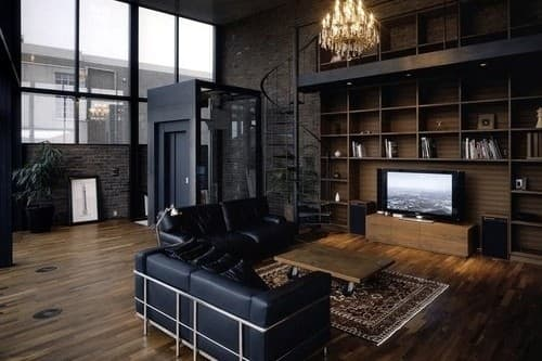 The Key To Modern Manly Decor Is A Stark Deep Colored Space With Industrial Accents Like Chrome Couch Frames And A Coffee Table On Casters