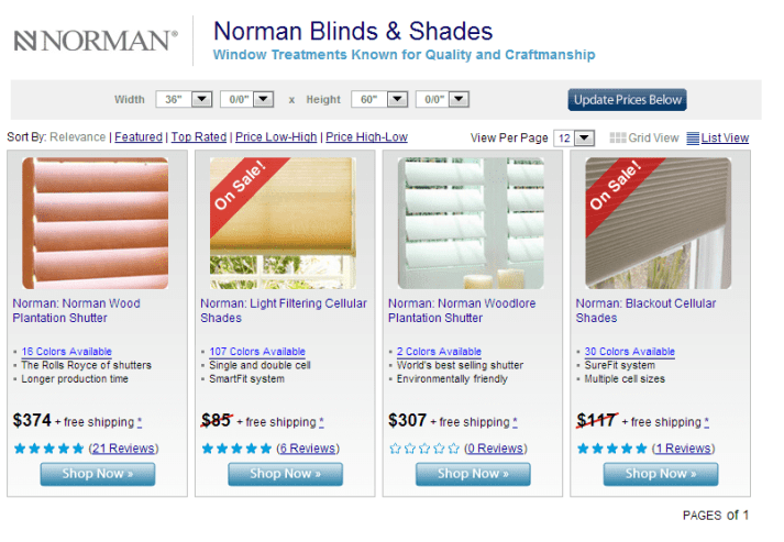Norman Brand Cordless Window Treatments from Blinds.com