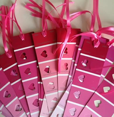 paint sample bookmarks valentines day