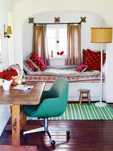 Red and Turquoise eclectic office