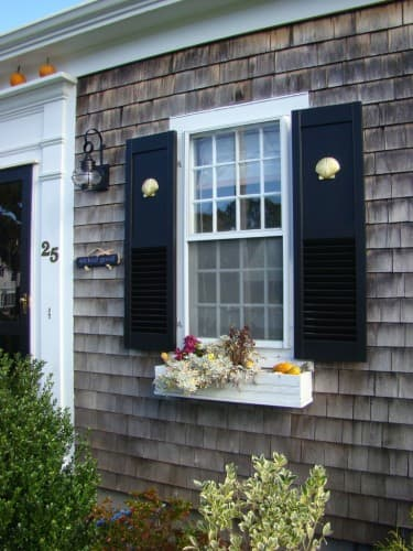 Shutters with wood accents