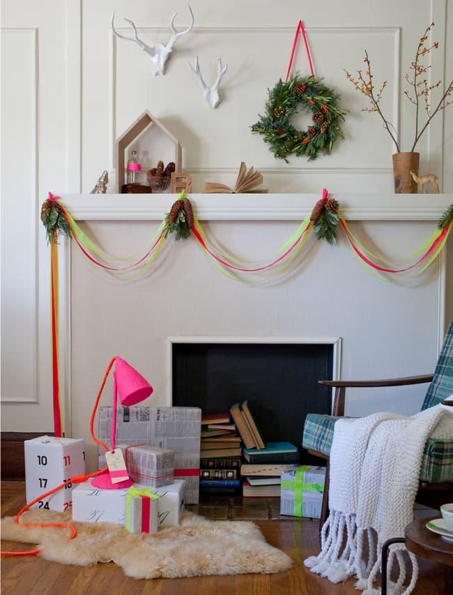 Neon Christmas mantle