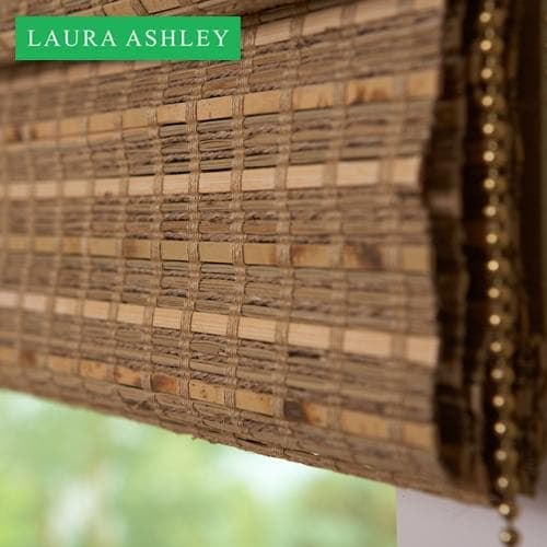 Laura Ashley Natural Woven Wood Shades in Reef Summer Field