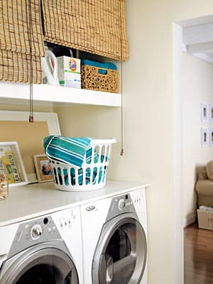 Bamboo blinds in laundry room - Young House Love
