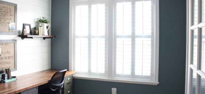 office remodel. Signature Wood Shutters Finish Home Office Remodel