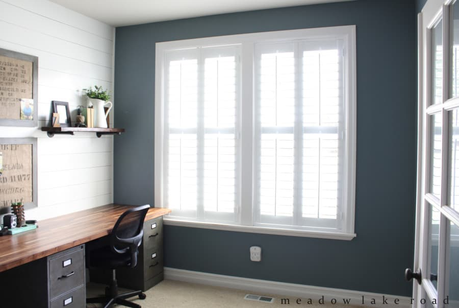 Lovely Premium Wood Shutters Finish Home Office Remodel